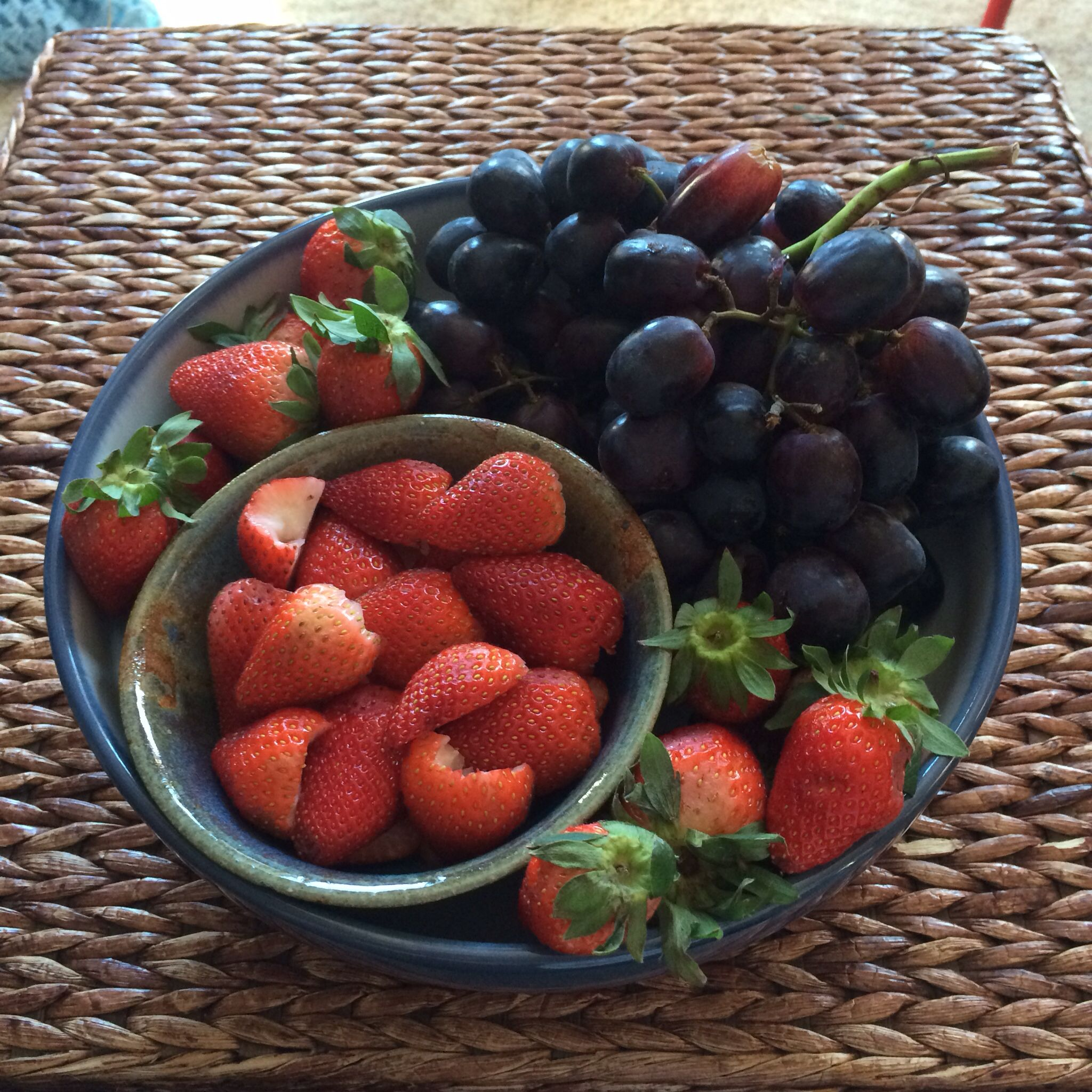 Black grapes and strawberries strawberry food acai bowl