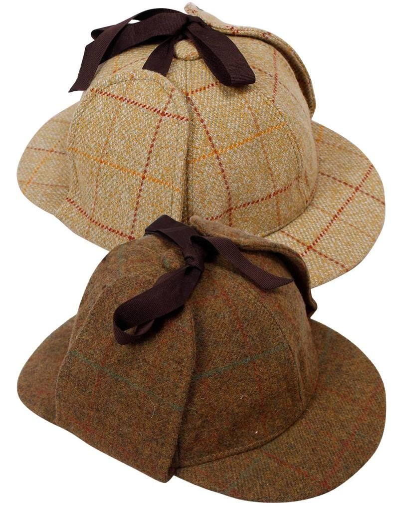 Details about mens tweed deerstalker hat sherlock holmes detective wool country cap