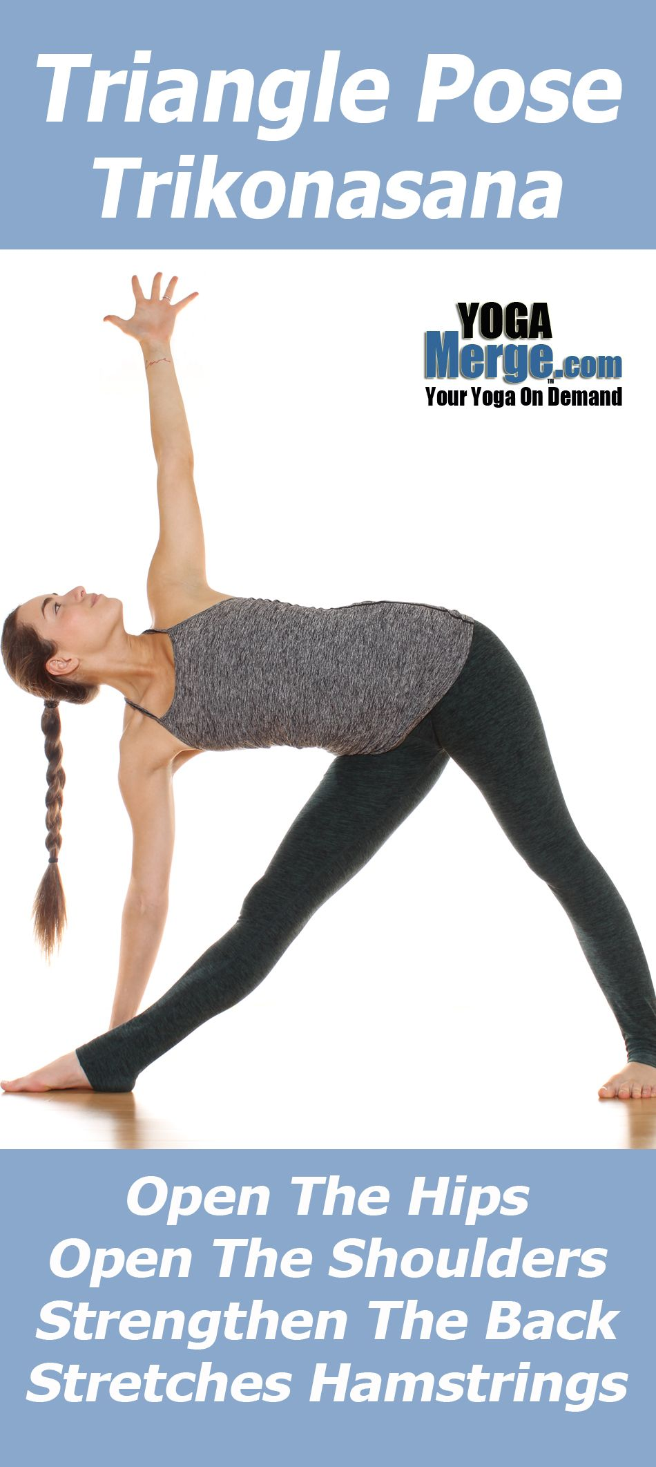 Learn More About The Benefits Of Yoga Pose Triangle Pose Also Known As Trikonasana Pose This Pose Is Packed Wit Online Yoga Videos Yoga Videos Yoga Articles