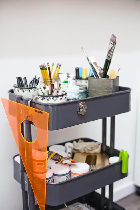 10 Utilisations Geniales De La Desserte Raskog D Ikea Organisation De Studio D Art Rangement Art Atelier Peintre