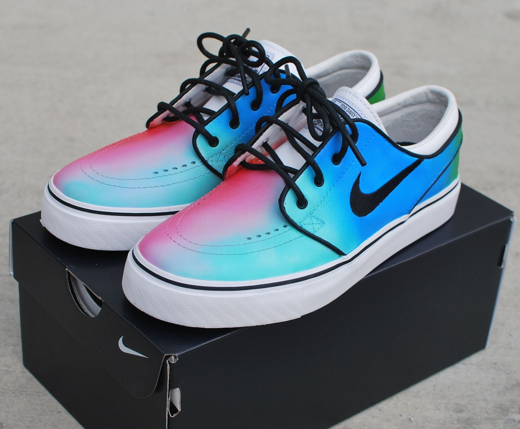 9660f20b6348 These Custom Nike Zoom Stefan Janoski skate shoes features my hand painted  Tie Dye design.
