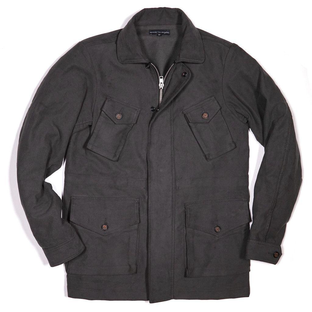epaulet field jacket in grey cotton moleskin   Gray jacket