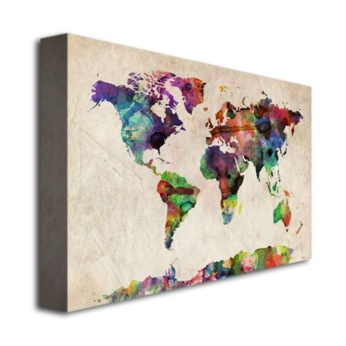 Giclee jee clay urban watercolor world map canvas print 32 x 22 lg michael tompsett urban watercolor world map canvas art overstock shopping top rated trademark fine art canvas gumiabroncs Gallery