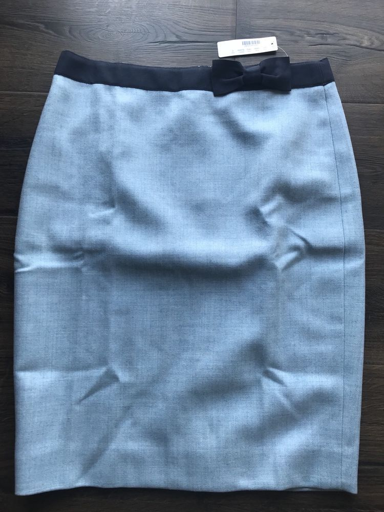 f43a77a1b2 J.CREW NWT Blue WOOL Bow Pencil Skirt Size 8 Lined 23.5