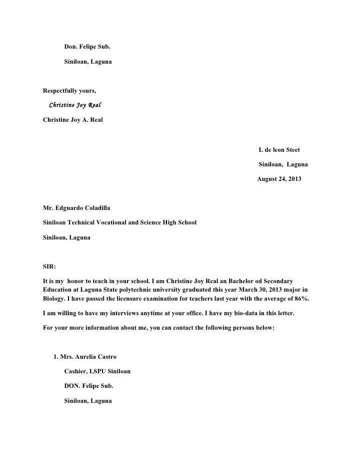 application letter for teaching job secondary school cover