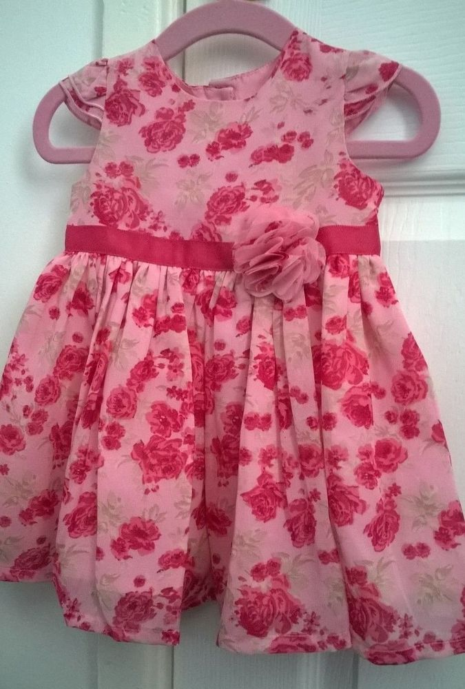 8229cc430 Baby Girls Pink Rose Pattern Dress 0-3m 12lbs 56-62cm George