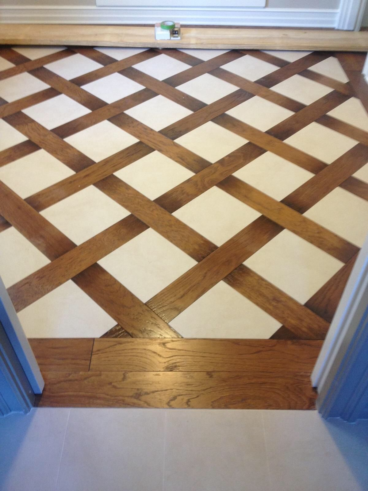 Wood And Tile Basket Weave Pattern Tile Floors