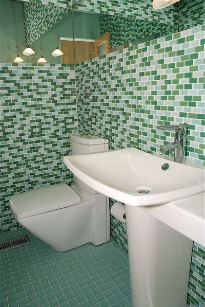 Bon Parisian Blend Glass Mosaic Subway Tile Bathroom Image From A  MosaicTileSupplies.com Customer.