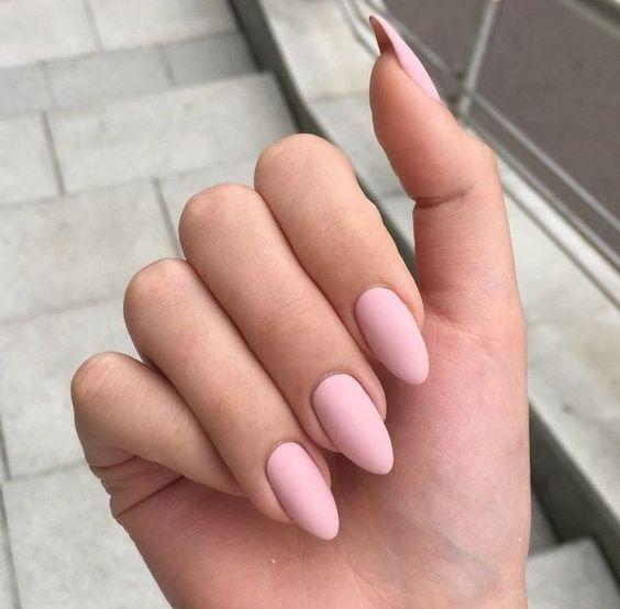 Acrylic Almond Nails Short Almond Nails Long Almond Nails 2019 Natural Almond Nails Matte Almond Nail D Matte Pink Nails Baby Pink Nails Pink Acrylic Nails