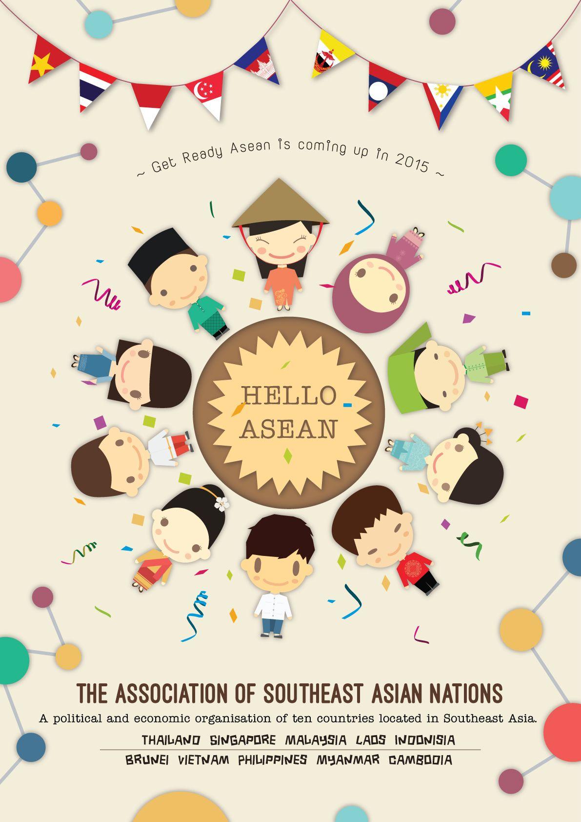 Hello Asean Poster Illustration By Boom Siddhichansen