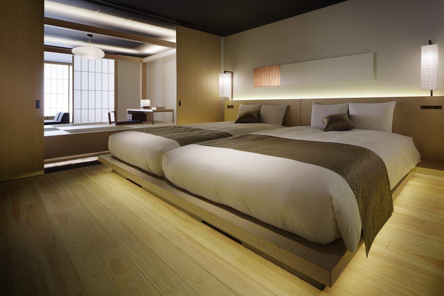 Udsが企画 設計 運営を手掛け 教育施設から京都の町家をモダンなデザインにコンバージョンしたデザインホテル 日本のモダンな家 ホテル スイートルーム 日本のベッドルーム