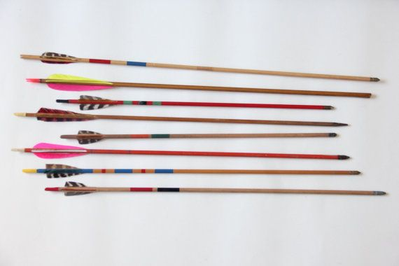 Wooden Colorful Vintage Archery Arrows Set of by GallivantingGirls