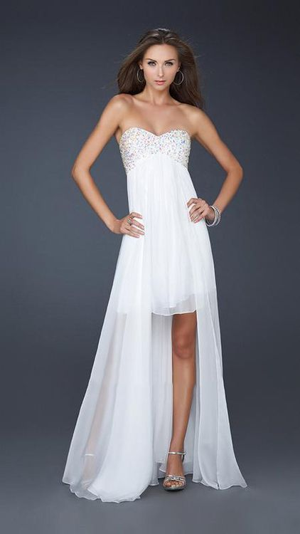 78c12a30967f3 La Femme - 17502 Beaded Sweetheart High-Low Chiffon A-line Gown