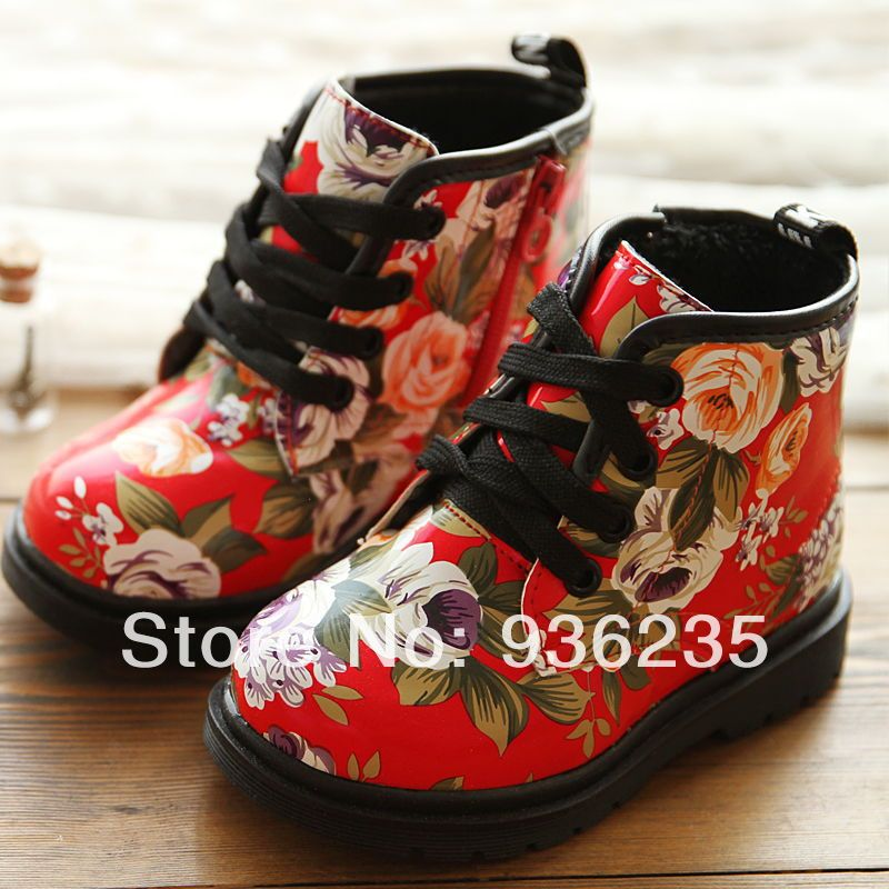 2014 autumn winter new trend vintage floral national fashion children martin boots for kids boys girls snow boots free shipping