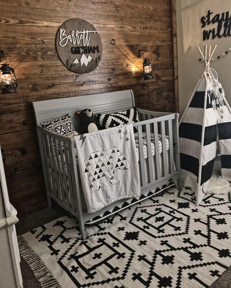 Transitional Nursery With Rustic Wood Wall: Wood Wall, Black & White Nursery Decor, Shiplap