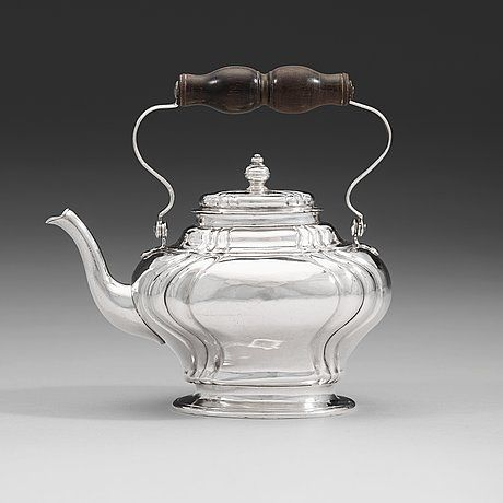 94. A Swedish mid 18th century  silver tea-pot, mark of Petter Lund, Stockholm 1750.