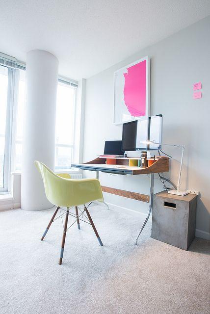 Home Office   Herman Nelson Swag Desk + FLOS Kelvin LED Desk Light + Coast  Modern