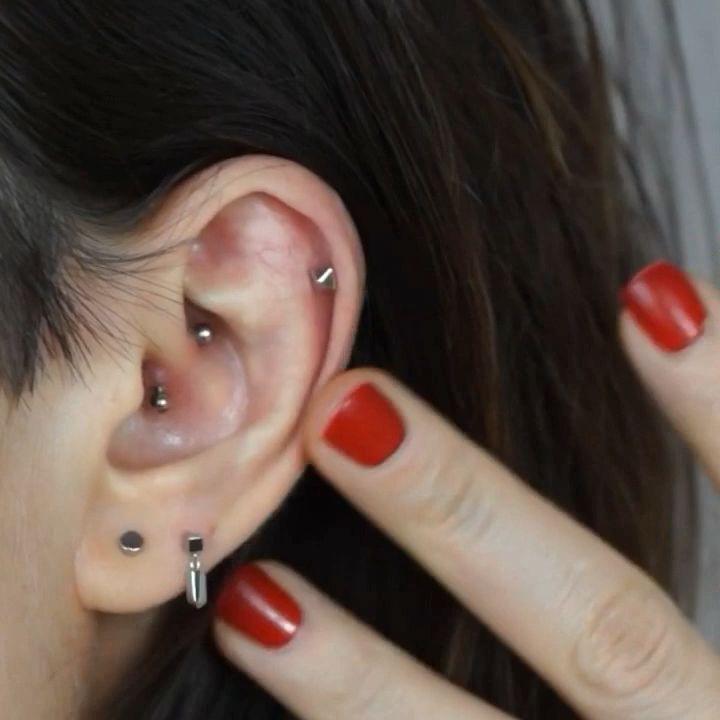 18k plain white gold Piercing Cartilage Earrings