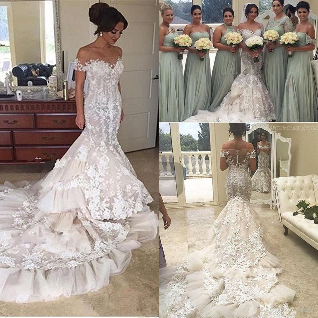 f9d026ffd54f Steven Khalil 3D Applique Floral Cathedral Train Mermaid Wedding Dresses  2018 Sheer Neck Short Sleeve Lace