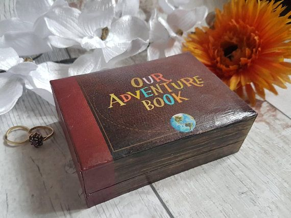 Our Adventure Book Wedding Ring Box Up Double Ring Box Earring