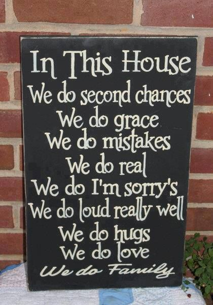 Painted Primitive Wood Sign In This House We Do Sign Family