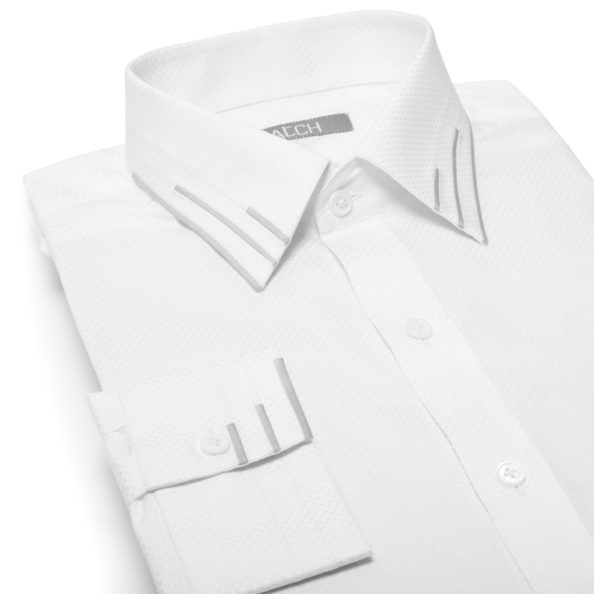Levels White Shirt With Grey Collar And Cuff Details Mens