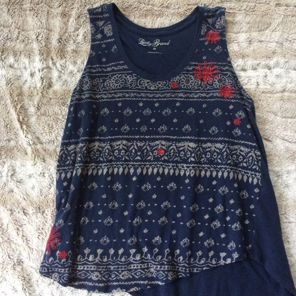 Pretty navy tank top Navy and gray with red embroidery Lucky Brand Tops Tank Tops