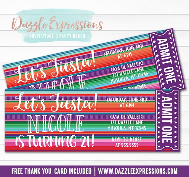 printable mexican blanket fiesta ticket birthday invitation any