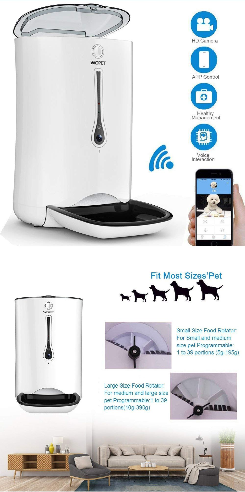 Wopet Wi Fi Smartfeeder Automatic Pet Dog Cat Feeder Timer Hd Camera For Voice Video Recording Pet Feeder Dog Cat Cute Cats And Dogs