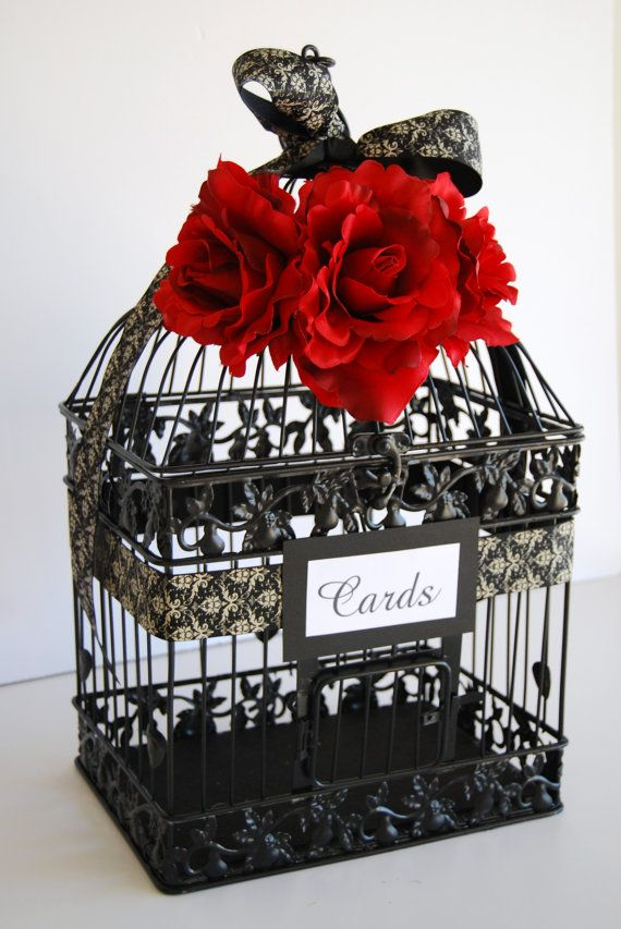 Large BLACK Wedding Bird Cage Card Holder by ...