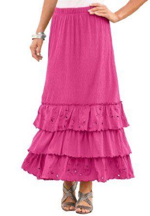 Roamans Plus Size Crinkle Knit Gauze Skirt