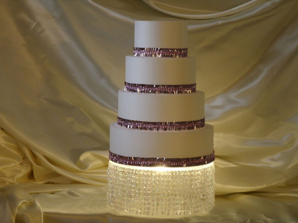 Cake stand 14 round lighted crystal bling weddings
