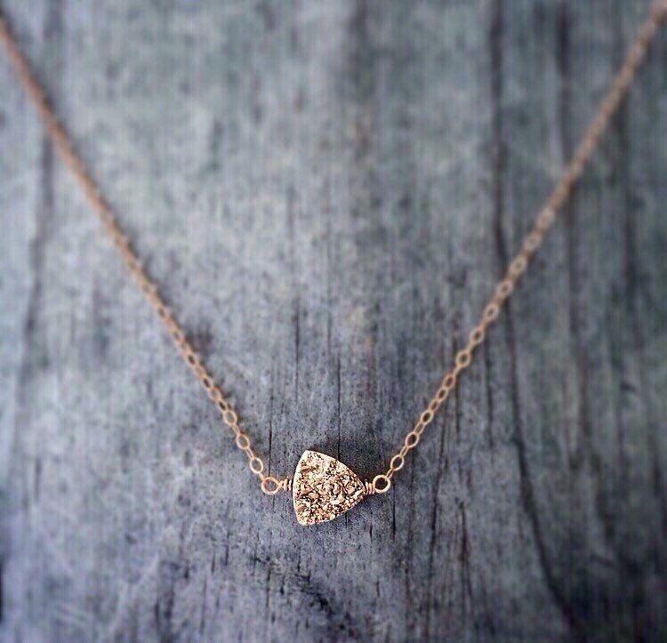 Rose Gold Trillion Druzy Necklace by niccoletti® #druzynecklace #arrownecklace #rosegoldjewelry #womensfashion #womensjewelry