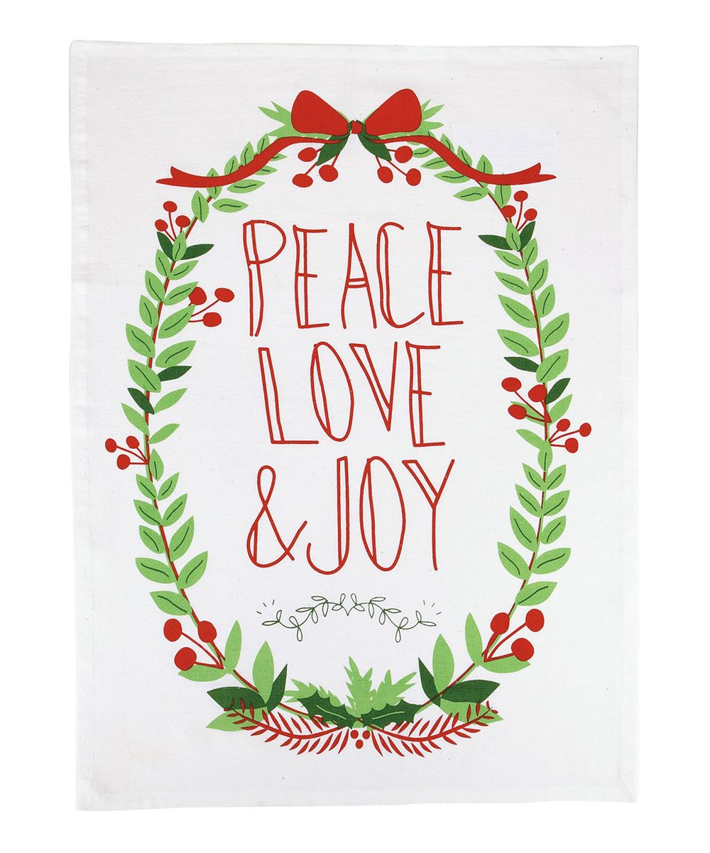 White \'Peace Love & Joy\' Wreath Dish Towel - Set of Two | Towels and ...