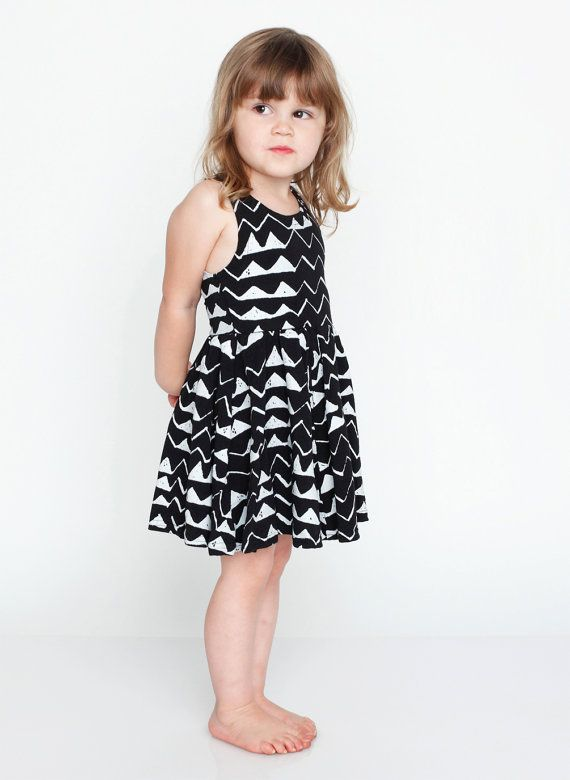 Mountain Twirling Dress in White on Black by thiefandbanditkids