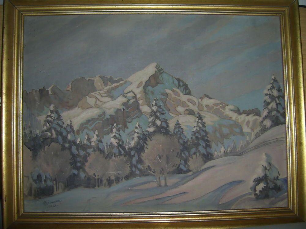 Maler Bergheim niemann gottfried garmisch gemälde öl auf lw wintermärchen maler
