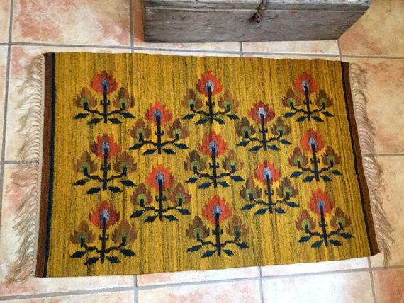 Autumn Harvest Polish Kilim Rug by CandilandArt on Etsy