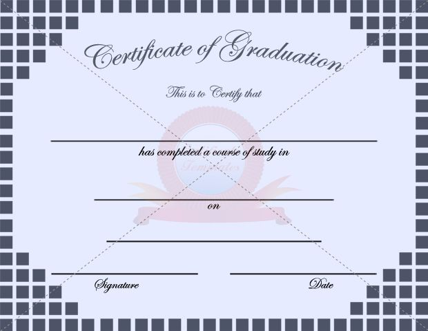 Graduation Block Certificate Template  Graduation Certificate