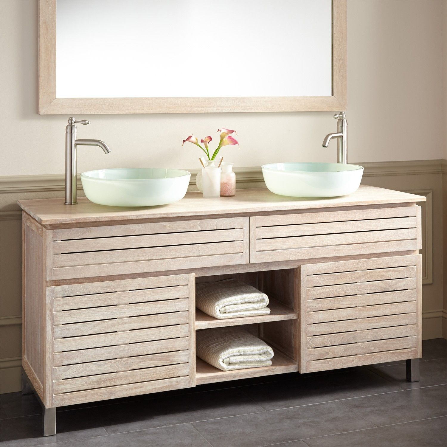 Best 60 Caldwell Teak Double Vessel Sink Vanity Whitewash 400 x 300