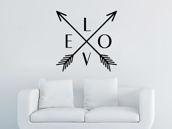Arrow Wall Decal Love Vinyl Sticker Decals Art Home Decor Mural Wall Decal Arrows Feather Indie Boho Fashion