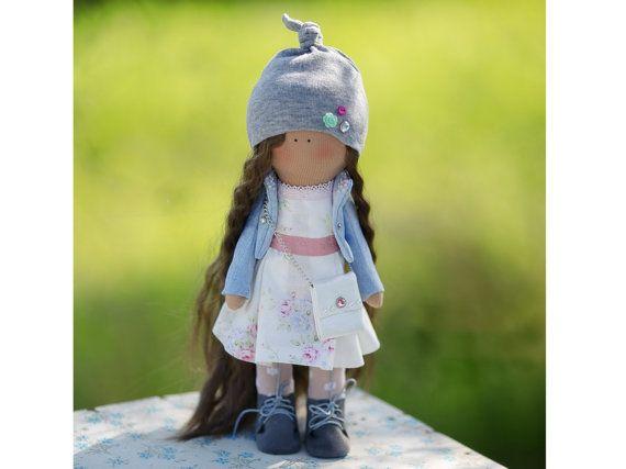 Sun doll Tilda doll Art doll Holiday doll handmade blue brown green color Soft doll Cloth doll Fabric doll winter toy by Master Diana Etkind