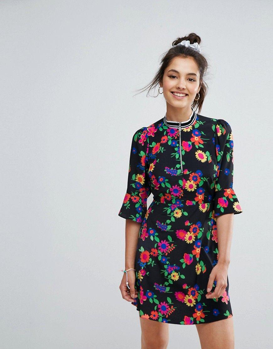 Asos bright floral tea dress multi products pinterest floral