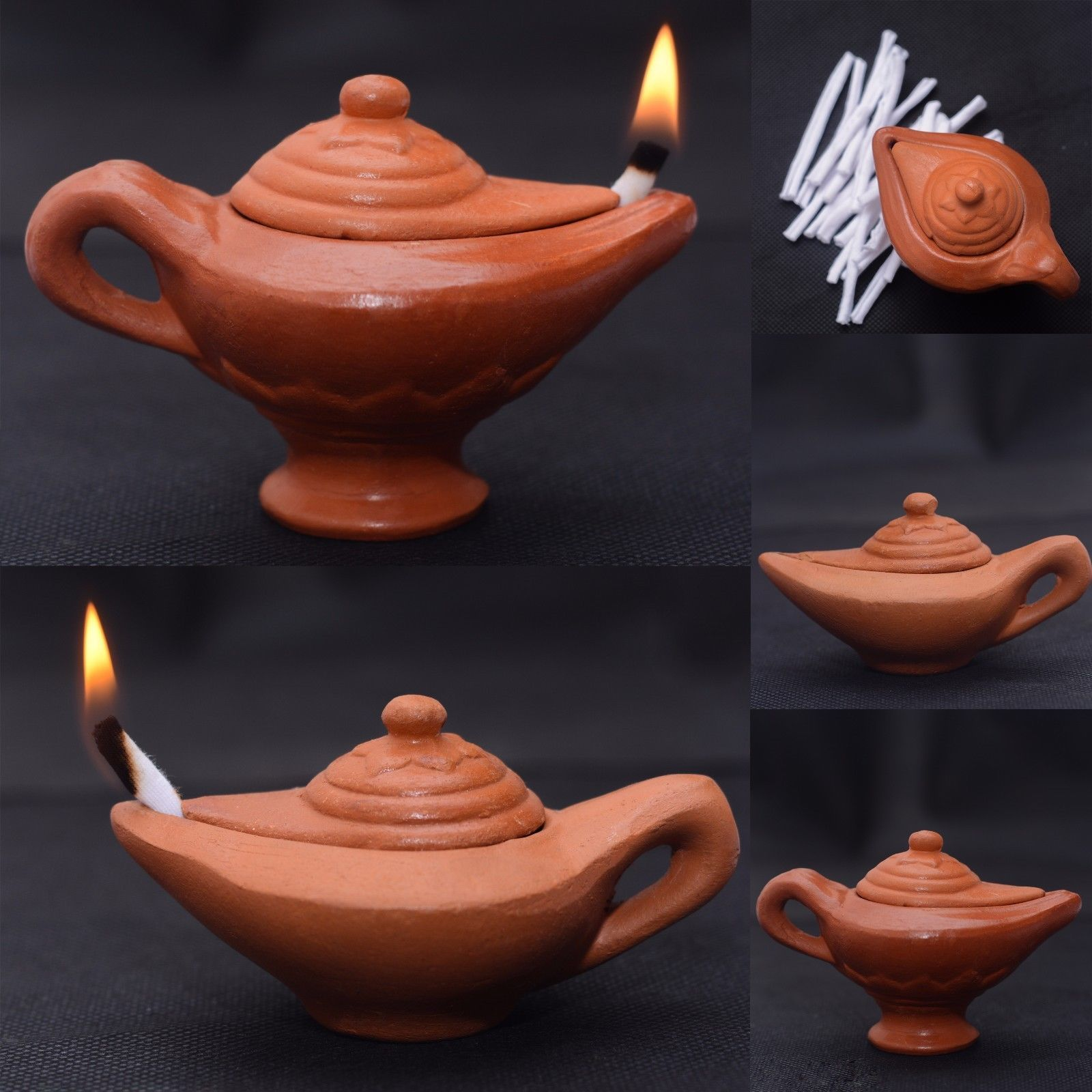 3 48 Clay Lamp Home Decors Aladdin Oil Lamp 20 Wicks Free Home Made Separate Lid Ebay Home Garden Oil Lamps Clay Kids Clay