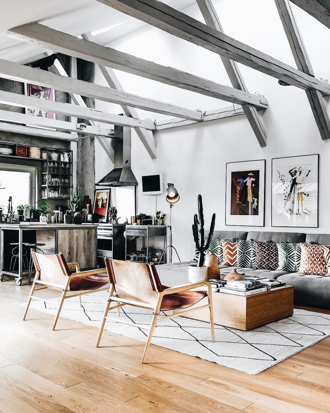 Living Room. Great Room. Kitchen. Modern. Couch. Beams
