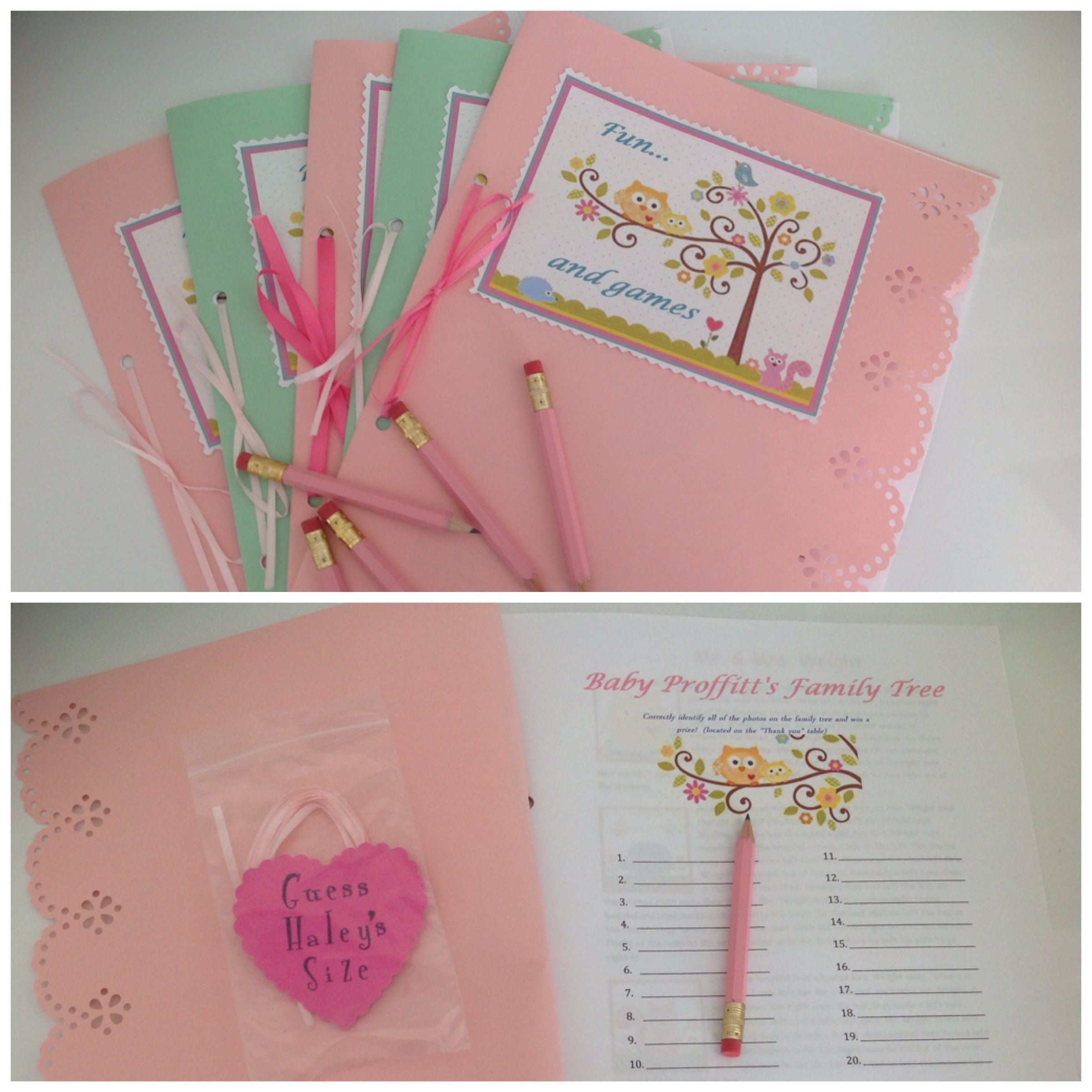 Happi Tree baby shower game booklet