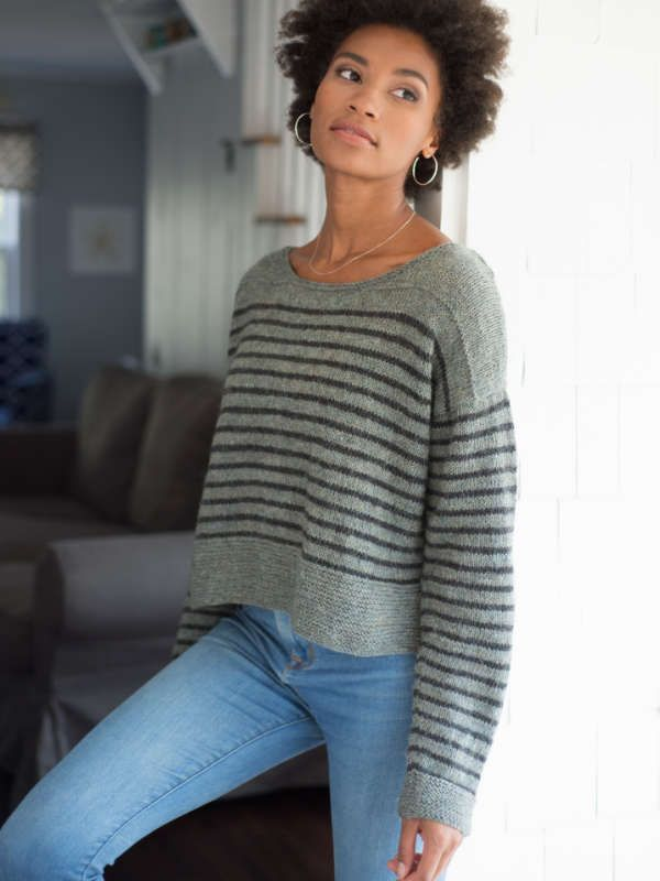 Parnell is a free sweater knitting pattern designed for two shades of Berroco Ultra Alpaca Light. Download the free pattern at Berroco.com.