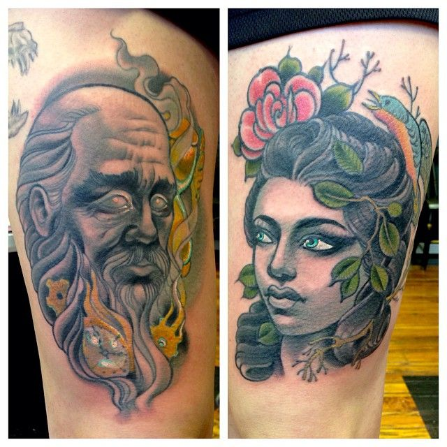 Mother Nature Tattoos: Father Time And Mother Nature By Dusty Neal