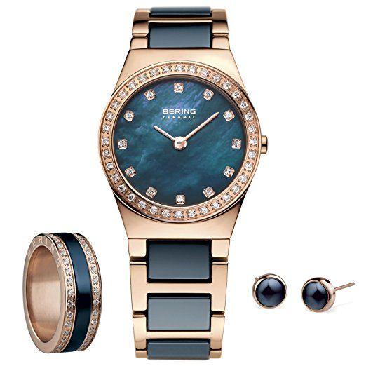 Bering Mujer Reloj, combinación Ring & Pendientes Set RG 5532426-767+ 523-37-73+ 554-70-71+ 701-37-05