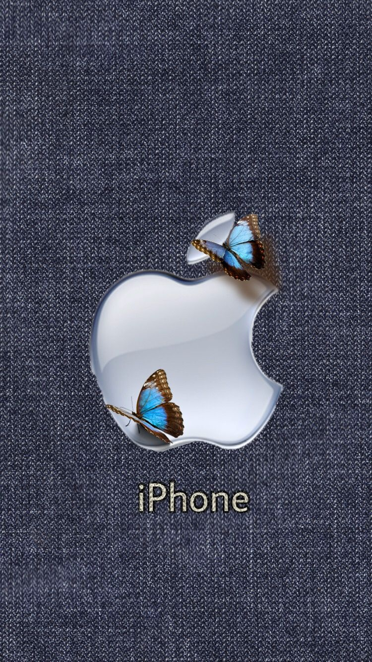 Apple Iphone With Butterflys Apple Logo Wallpaper Iphone Apple Wallpaper Iphone Apple Wallpaper