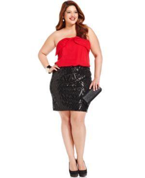 Trixxi Plus Size Strapless Bow Sequin Dress plus size fashion ...